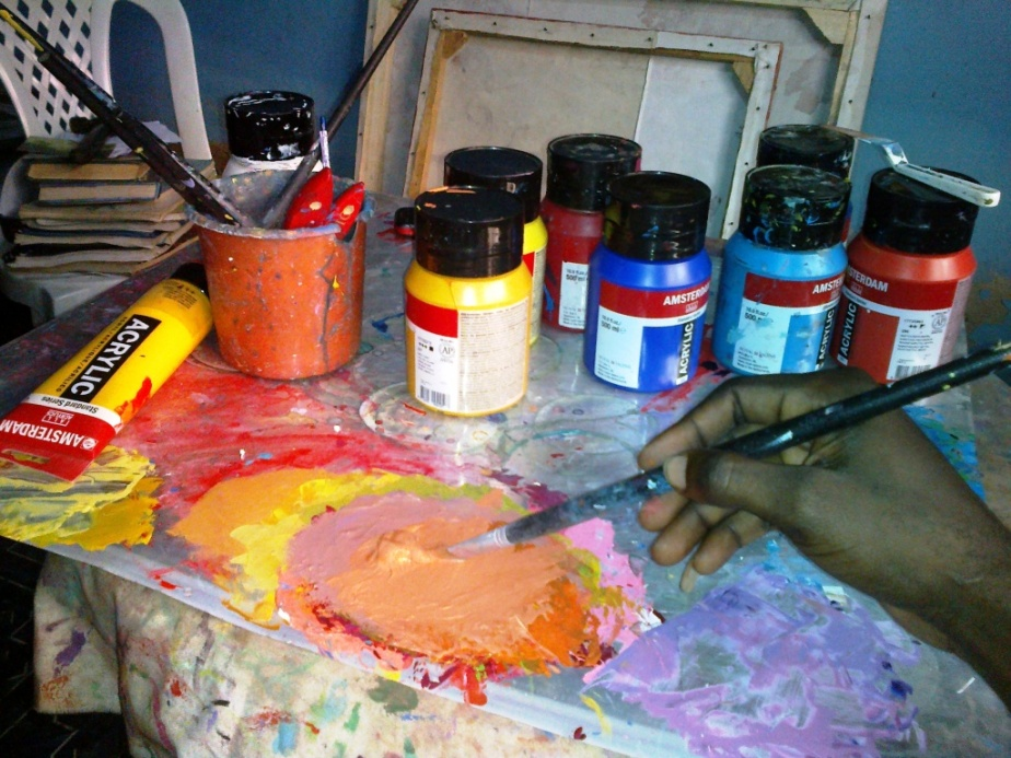 Mixing the Colours and Painting